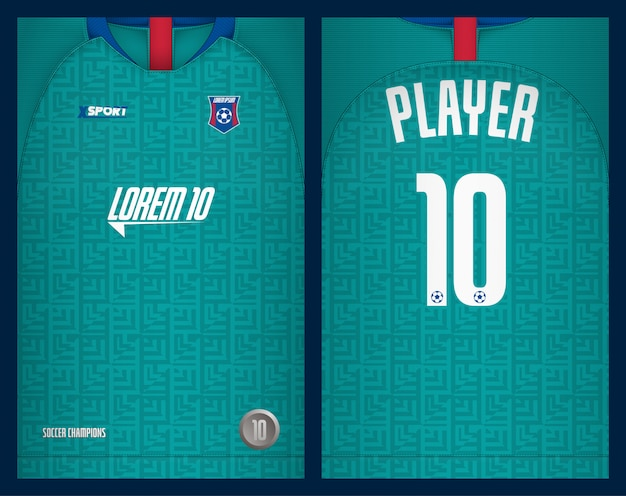 Voetbal jersey sjabloon sport t-shirt ontwerp Premium Vector