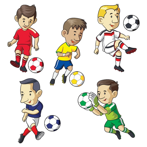 Voetbal kid cartoon Premium Vector