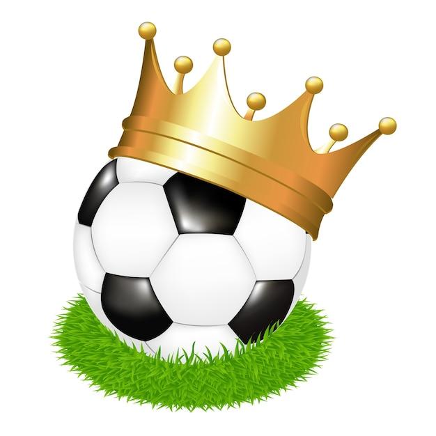 Voetbal op gras met kroon, op witte achtergrond, illustratie Premium Vector