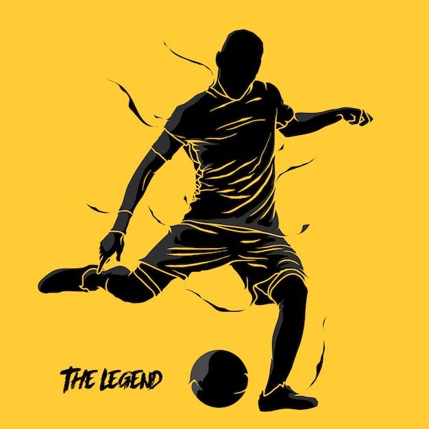 Voetbal plons silhouet Premium Vector