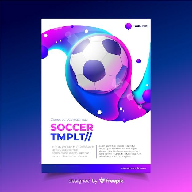 Voetbal poster sjabloon vloeibaar effect Gratis Vector