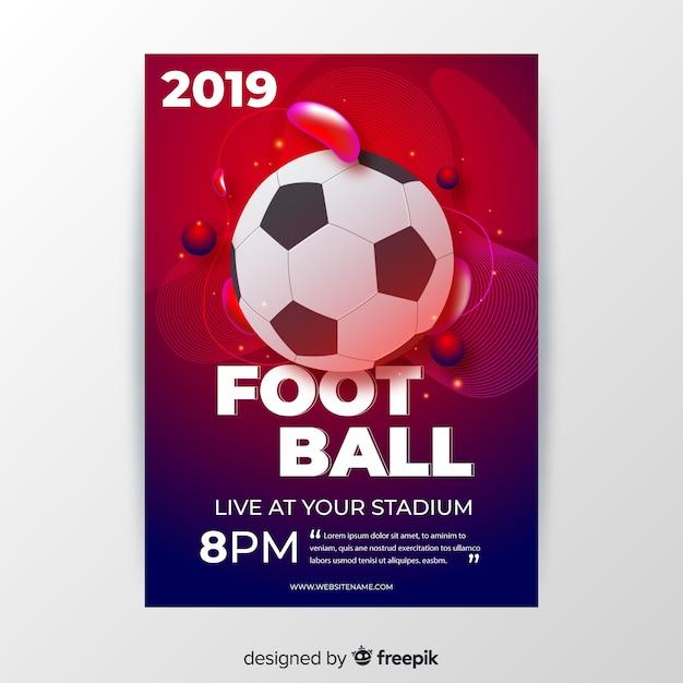 Voetbal poster sjabloon vloeibare vormen Gratis Vector