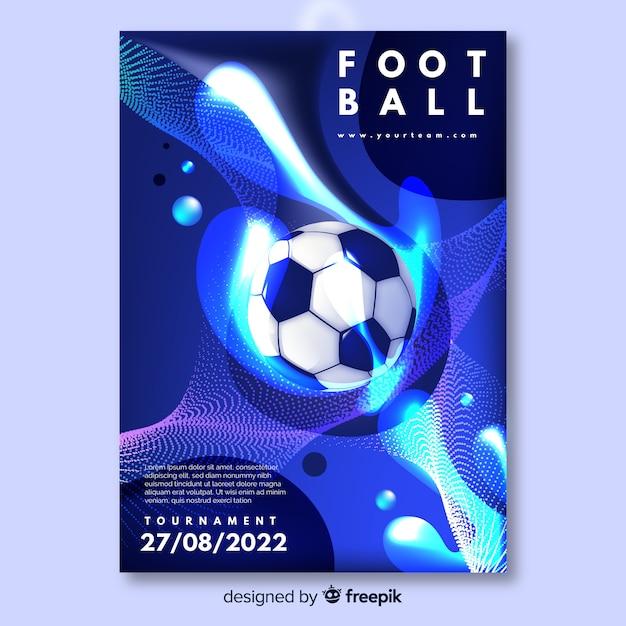 Voetbal poster toernooisjabloon Gratis Vector