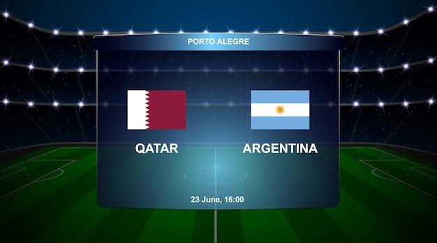 Voetbal scorebord uitzending afbeelding Premium Vector