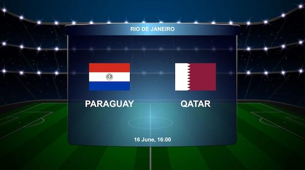 Voetbal scorebord uitzending Premium Vector