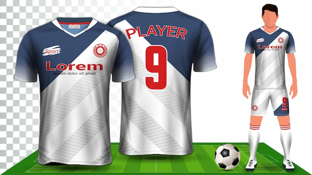 Voetbal shirt, sport shirt of voetbal kit uniforme presentatie. Premium Vector