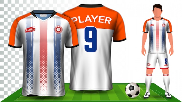 Voetbal shirt, sport shirt of voetbal kit uniforme presentatiesjabloon. Premium Vector