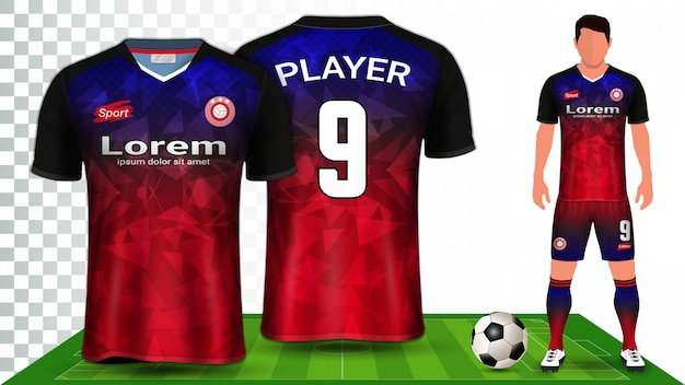 Voetbal shirt, sport shirt of voetbal kit uniforme presentatiesjabloon. Premium Vector