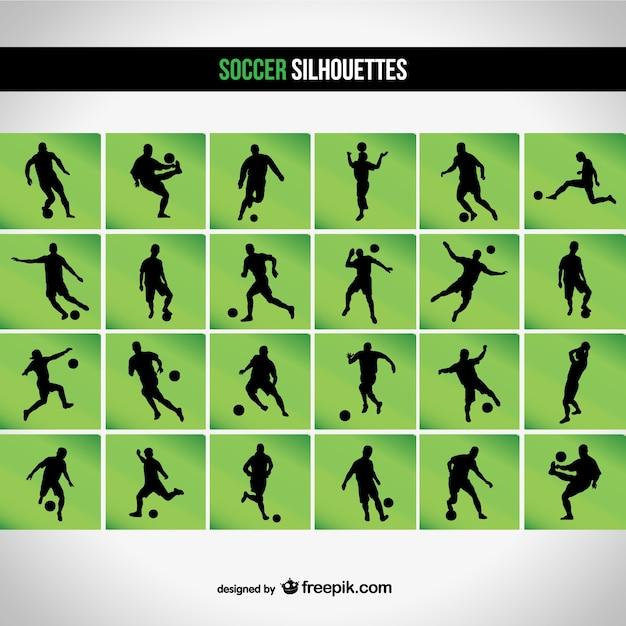 Voetbal silhouetreeks Gratis Vector