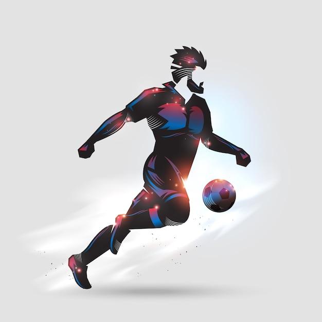 Voetbal snel dribbelen Premium Vector