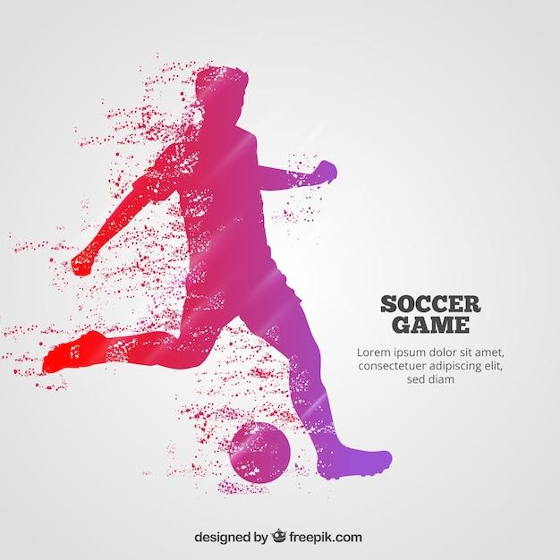 Voetbal spel achtergrond met speler Gratis Vector
