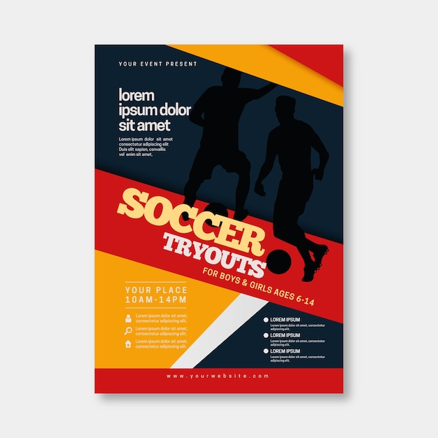 Voetbal sport sjabloon folder Gratis Vector
