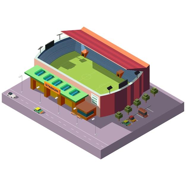 Voetbal stadion isometrische projectie pictogram Gratis Vector