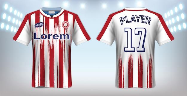 Voetbal t-shirt sport mockup sjabloon Premium Vector