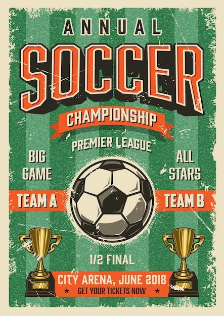 Voetbal typografische vintage grunge stijl poster Gratis Vector