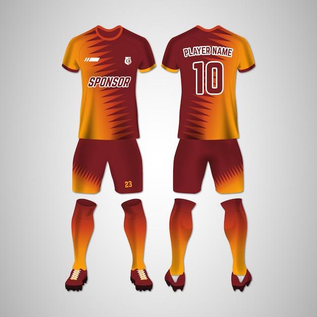Voetbal uniform voor- en achterkant set Gratis Vector