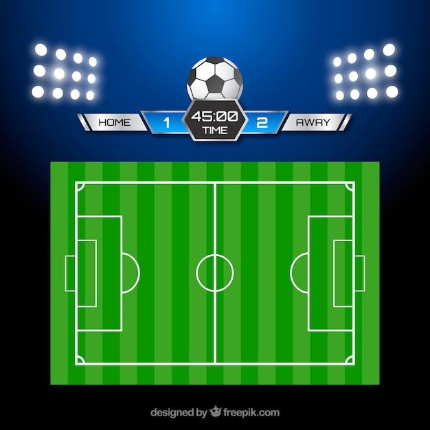 Voetbal veld achtergrond met scorebord Gratis Vector