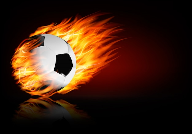 Voetbal vlammende bal. Premium Vector