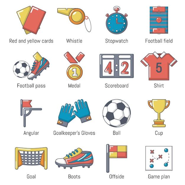 Voetbal voetbal pictogrammen instellen Premium Vector