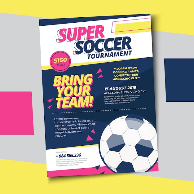 Voetbal voetbal poster afdruksjabloon Premium Vector