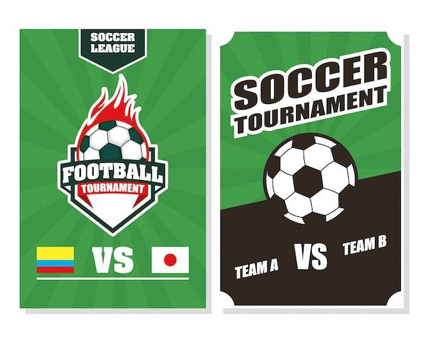 Voetbal voetbal sport poster met ballonnen in brand Premium Vector