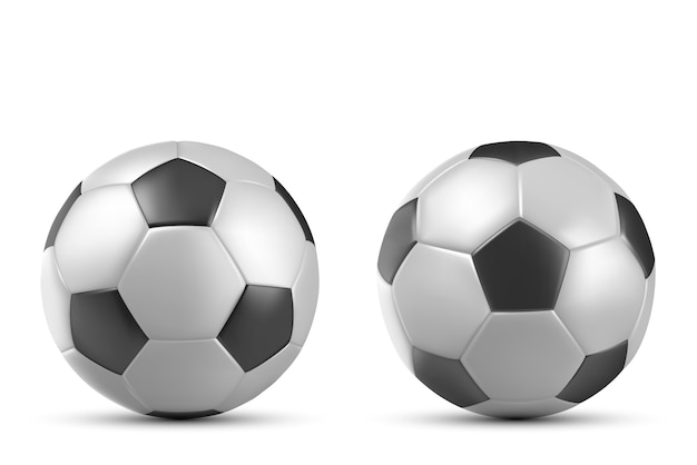 Voetbal, voetbalbal op wit wordt geïsoleerd dat Gratis Vector