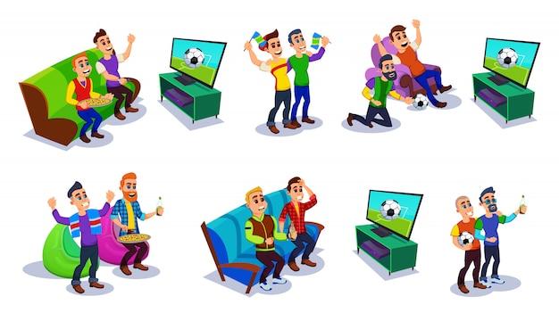 Voetbal, voetbalfans en vrienden tv kijken. Premium Vector