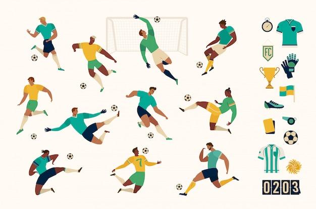 Voetbal voetballer set van geïsoleerde tekens en moderne set van voetbal en voetbal pictogrammen. illustratie. Premium Vector