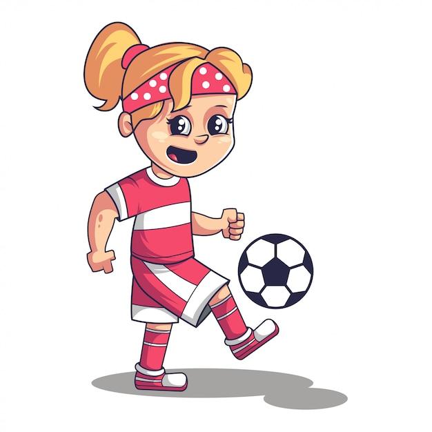 Voetbal voetbalspel, schattig meisje voetballen Premium Vector