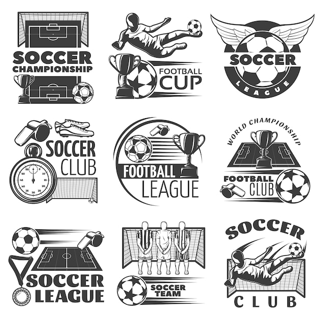 Voetbal zwart wit emblemen van clubs en toernooien met sportartikelen trofeeën spelers geïsoleerd Gratis Vector