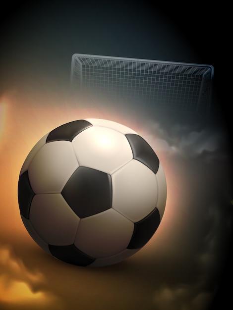 Voetbalbal en staaldoelachtergrond Gratis Vector
