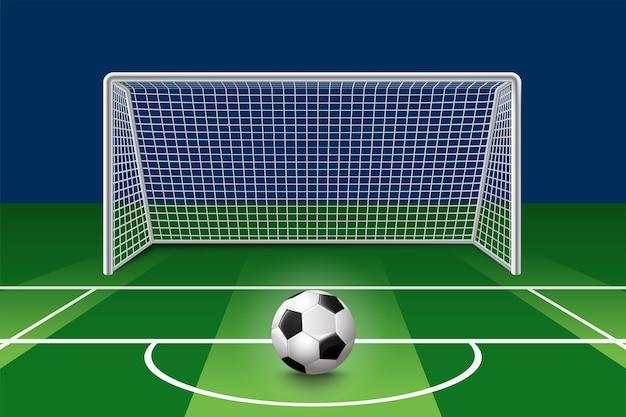 Voetbalbal op groen gebied voor doelpaal. vereniging voetbal balsportstadion Premium Vector