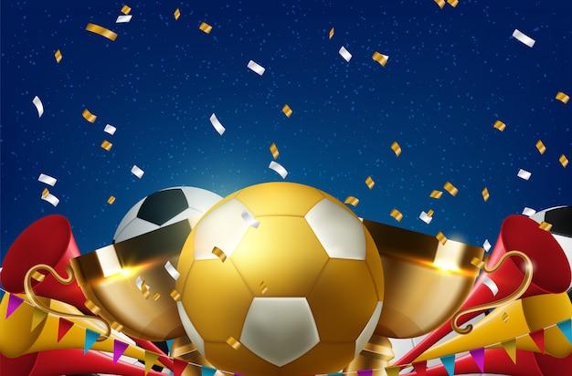 Voetbalbalconcept voor sportbar kaartverkoop sportpromotie Premium Vector