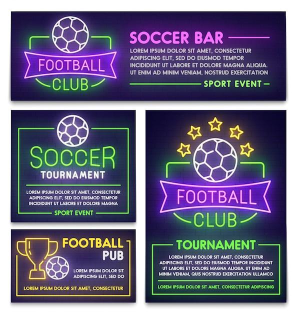 Voetbalclub poster, flyer en spandoek sjabloon Premium Vector
