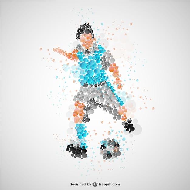 Voetballer met blauwe t-shirt Gratis Vector