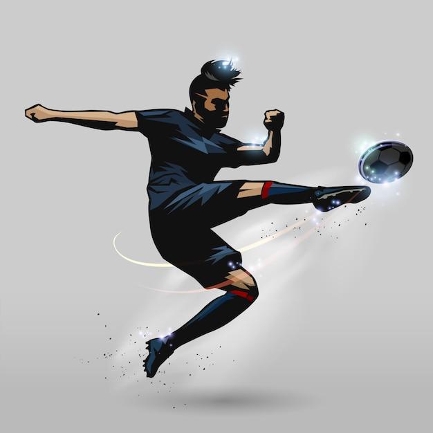 Voetbalsalvo-speler Premium Vector