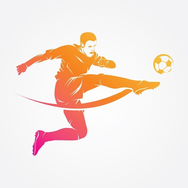 Voetbalspeler logo vector silhouet Premium Vector