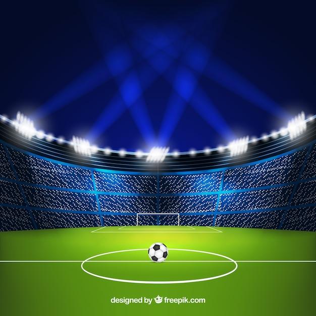 Voetbalstadion achtergrond in realistische stijl Gratis Vector