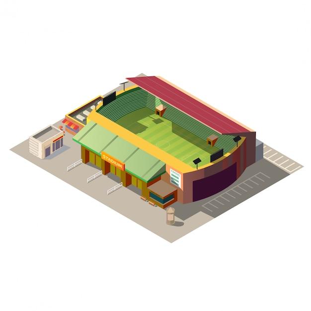 Voetbalstadion die lage poly isometrisch bouwen Gratis Vector
