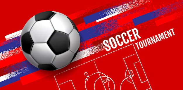 Voetbaltoernooi, sjabloon sport lay-out Premium Vector