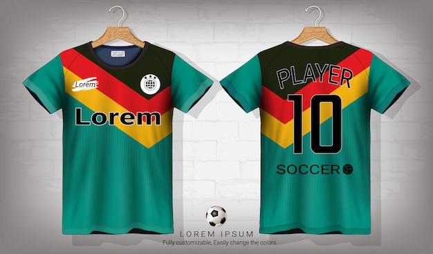 Voetbaltrui en t-shirt sportmodel sjabloon. Premium Vector