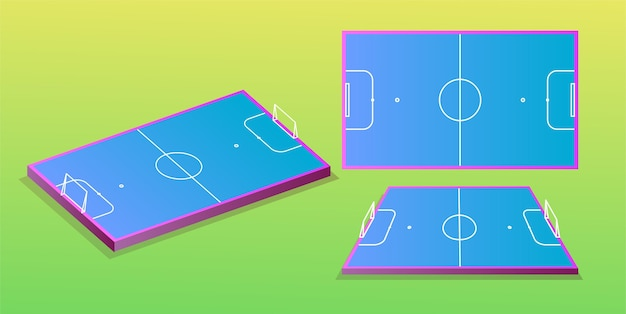 Voetbalveld in verschillende perspectieven Premium Vector