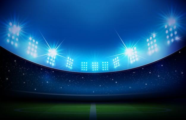 Voetbalveld met stadion Premium Vector