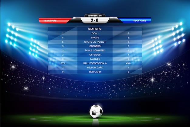 Voetbalveld met voetbal en programma's grafiek Premium Vector