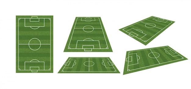 Voetbalveld of voetbalveld verzamelen Premium Vector