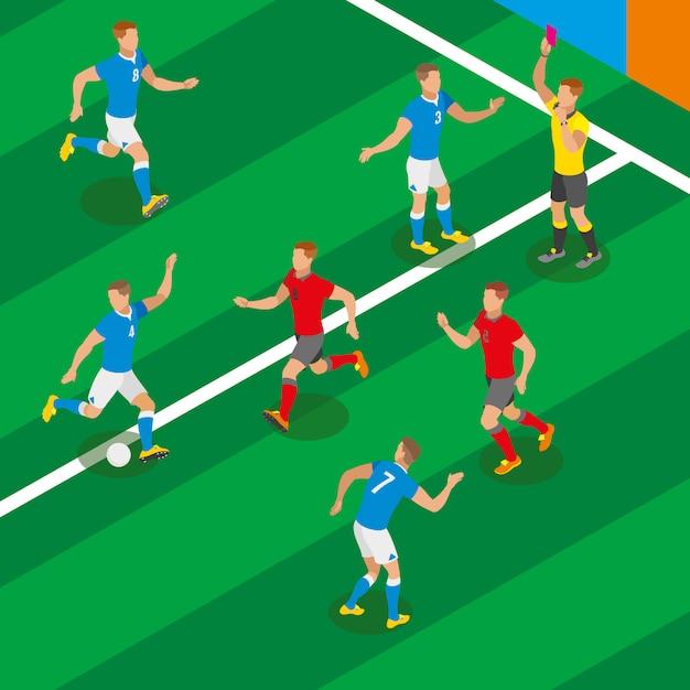Voetbalwedstrijd isometrische samenstelling met spelers in de vorm van concurrerende teams en scheidsrechter met rode kaart Gratis Vector