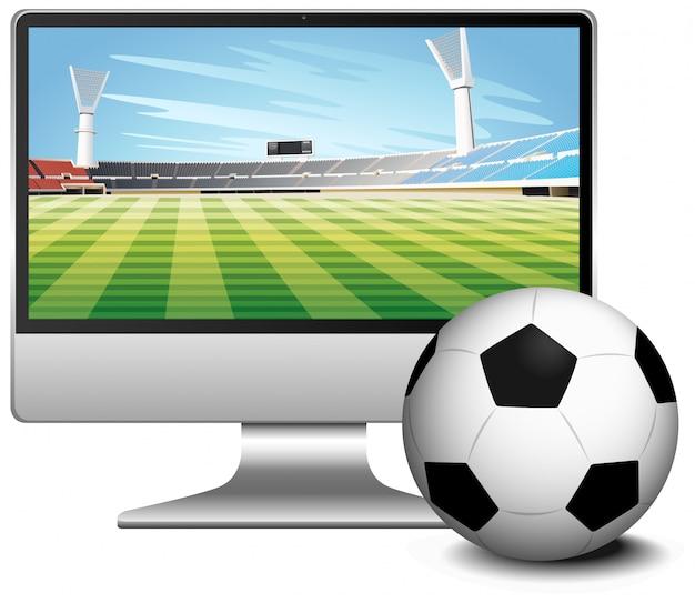 Voetbalwedstrijd score nieuws op computerscherm met voetbal Gratis Vector