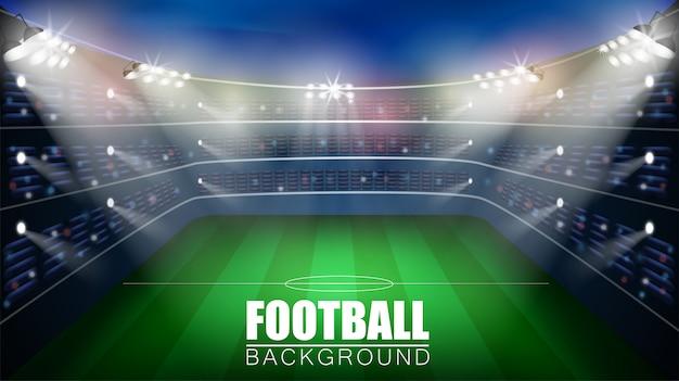 Voetbalwedstrijd. wereldkampioenschap stadion 3d vector achtergrond. voetbal poster sjabloon. Premium Vector