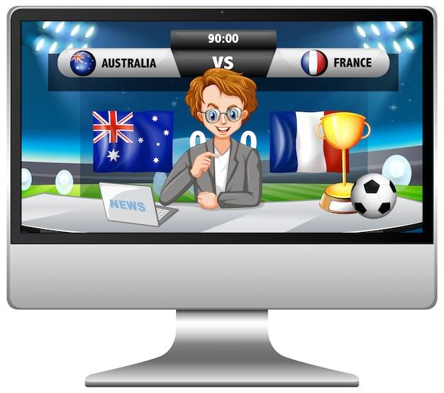 Voetbalwedstrijdnieuws op geïsoleerd computerscherm Gratis Vector