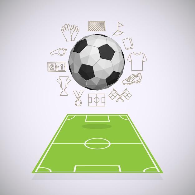 Voetbalwerf met dunne lijnpictogrammen Premium Vector